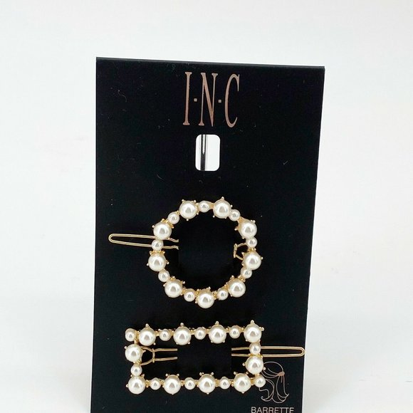 INC White Pearl Hair Barrette Set 2 Gold Clip